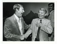 Brad Gates (left) shakes hands with Cecil Hicks before the GOP Election Party at the South Coast Plaza Hotel, 1982