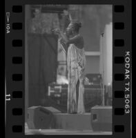 Nina Simone stands, addressing the crowd during her Playboy Jazz Festival performance at the Hollywood Bowl, 1986.