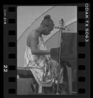 Nina Simone plays piano with eyes closed during her Playboy Jazz Festival performance at the Hollywood Bowl, 1986.