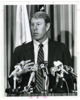 Brad Gates, Orange County Sheriff-Coroner, at a press conference, 1985.