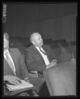 James Stafford at meeting of North Whittier Heights Board of Supervisors where his proposal to develop multi-family apartments was endorsed, 1961.