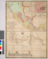 Map of Mexico, including Yucatan and Upper California, exhibiting the chief cities and towns, the principal travelling routes, etc.; and, Map of the principal roads from Vera Cruz and Alvarado to the city of Mexico, including the Valley of Mexico, mountians, plains, volcanoes, lakes, etc.