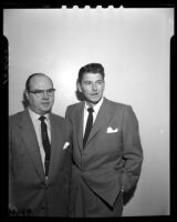 Ronald Reagan, right, and Roy Brewer during court appearance regarding 1946 movie industry strike violence and threats, 1954.