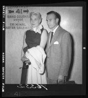 Barbara Payton and husband George A. Provas in court after Payton was convicted of check fraud, Los Angeles, 1955