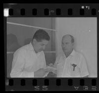 Ruben Salazar (left) interviews Virgilio Maynardi Reyna in Santo Domingo, 1965.