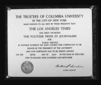 Pulitzer Prize certificate awarded to the Los Angeles Times for its series of articles exposing corruption in city government, 1969.