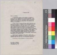 Letter, 1957 February 7, New York, N.Y. to Mr. John Gatling, Philadelphia, Pa.
