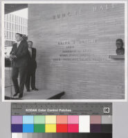 Ralph J. Bunche and Charles E. Young in front of Bunche Hall, UCLA