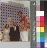 Ruth Bunche, Ralph J. Bunche, and Lew Alcindor (Kareem Abdul-Jabbar) in front of Bunche Hall, UCLA