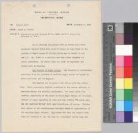 Memorandum, 1942 November 3, to Conyers Read