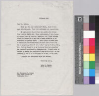 Letter, 1960 March 10, New York, N.Y. to Mr. Marcellus Butler, Washington, D.C.