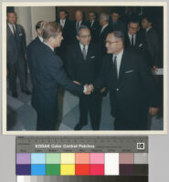 President John F. Kennedy, greeted by Secretary General Thant and Under-Secretary for Special Political Affairs Bunche, upon his arrival at the United Nations
