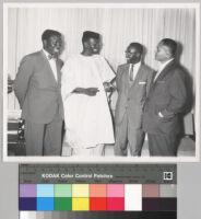 Ambassador Alex Quaison-Sackey, Prime Minister Nnamdi Azikiwe, Ambassador Diallo Telli and Ralph Bunche at the International House