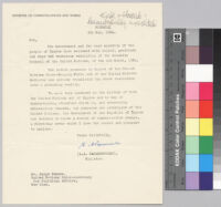 Letter, 1964 May 5, Nicosia, Cyprus, to Mr. Ralph Bunche, United Nations Under-Secretary for Political Affairs, New York, N.Y.