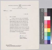 Letter, 1954 July 1, New York, N.Y. to Dr. Ralph J. Bunche