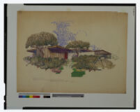 Bailey Case Study House color sketch.