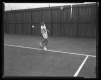 Roger Werksman hits a backhand at L.A. Tennis Club, 1956.