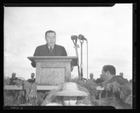 Clayton E. Triggs speaking at the dedication of Arroyo Seco Parkway, Los Angeles, 1940