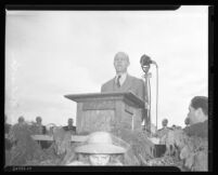 Wright L. Felt speaks at the dedication of Arroyo Seco Parkway, Los Angeles, 1940