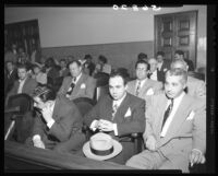Mickey Cohen at his arraignment in Superior Court, Los Angeles, 1949
