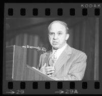 Mickey Cohen speaking at the Ex-Felon Consortium, 1975.