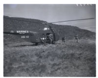 Marines land on Santa Margarita by helicopter as part of training exercise, 1952.