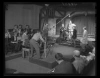 "Students in ""170 Productions"" laboratory at UCLA, perform and film Shakespeare's Richard II as audience watches, 1947."
