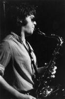 Vinny Golia playing sax, Los Angeles, 1978 [descriptive]