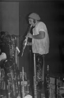 Vinny Golia playing clarinet, Los Angeles, 1977 [descriptive]