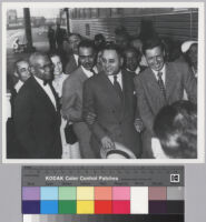 Ralph J. Bunche with Henry Moon, Roy Wilkins, and Will Rogers, Jr. at the 1949 NAACP Convention in Los Angeles, Calif.