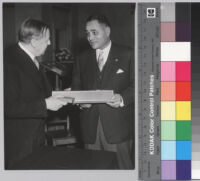 Gunnar Jahn, Chairman of the Nobel Committee, and Ralph J. Bunche at the 1950 Nobel Prize presentation ceremony