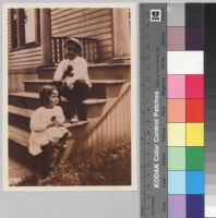 Ralph J. Bunche and Grace Bunche on steps