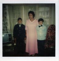 Grandma with grandkids in living room