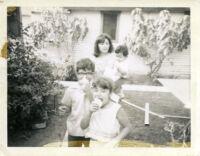 Children in backyard