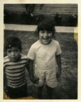 Two children in yard