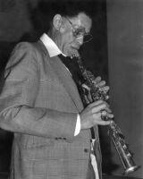 Dexter Gordon playing clarinet in Claremont, California, 1979 [descriptive]