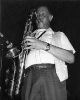 Dexter Gordon playing saxophone, 1982 [descriptive]