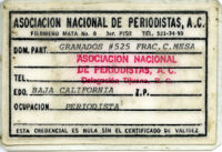 Delfino's National Association of Journalists' card