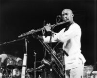 Flute player with the Art Ensemble of Chicago (A.E.C.) [descriptive]