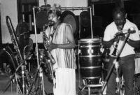 Art Ensemble of Chicago (A.E.C.) performing in Los Angeles, California, 1976 [descriptive]
