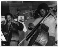 Stanley Carter and Roberto Miranda playing double bass at The Speakeasy, Los Angeles, 1976 [descriptive]