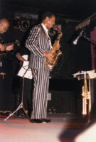 Ornette Coleman's band Prime Time performing in 1986 [descriptive]
