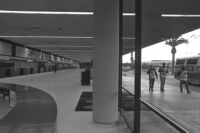 Transport Workers Union strikers outside of Los Angeles International Airport as ticket counters are empty within, 1969.