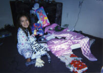 Jinx with presents at Christmas