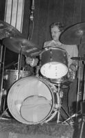 Alvin Stoller playing drums in Los Angeles, 1977 [descriptive]