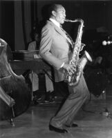 Harold Land playing the tenor saxophone in Los Angeles, 1983 [descriptive]