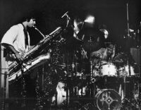 Vinny Golia on bass saxophone and Alex Cline on drums, 1979 [descriptive]