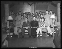 Dr. T.K. Chang, Chinese Consul General and Chinese Naval Officers welcomed at the Chinatown Canteen, 1945.