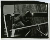 Beard House, view of welder during construction, Altadena, California, 1934