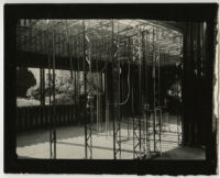 Beard House, interior view of metal beams during construction, Altadena, California, 1934